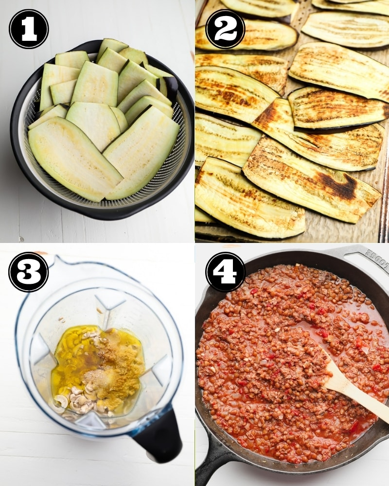 4 step by step images showing how to make vegan moussaka layers
