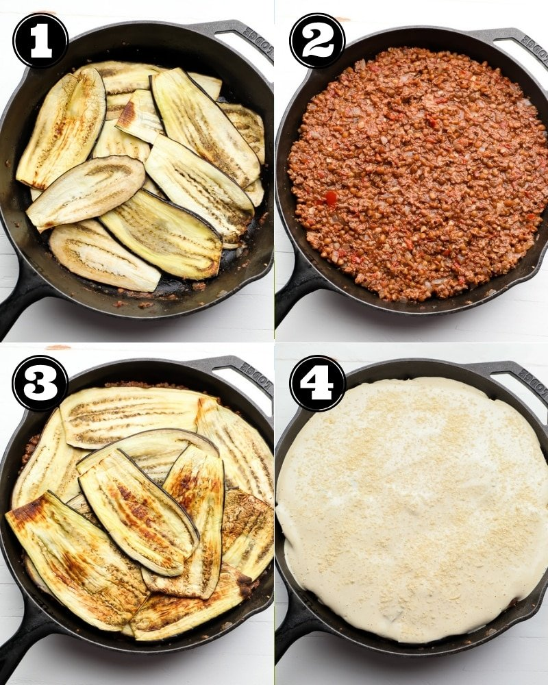 4 step by step images showing how to assemble a vegan moussaka