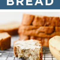 pinterest image of a buttered and bitten slice of banana bread on a cooling rack