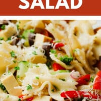 pinterest image of a close up on a pasta salad
