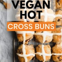 Pinterest image with text for vegan hot cross buns