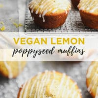 Pinterest collage with text for vegan poppy seed muffins