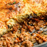 close up of vegan moussaka in a baking dish
