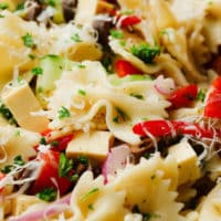 close up on a vegan pasta salad