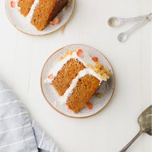 square image of two pieces of cake on plates