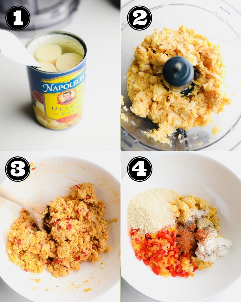 4 images showing the steps to making vegan crab cakes