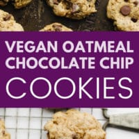 pinterest image of baked chocolate chip oatmeal cookies
