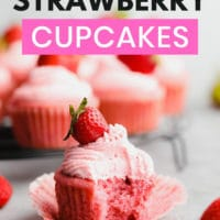 pinterest collage with text for strawberry cupcakes made vegan