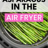 pinterest image of cooked asparagus in an air fryer basket