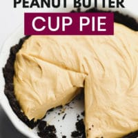 Pinterest image for a peanut butter pie made vegan with text overlay
