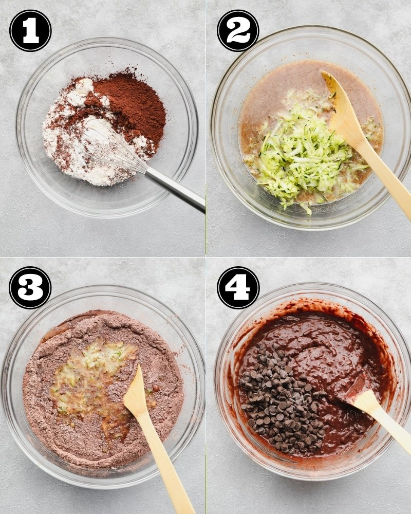 4 images showing the steps to making chocolate zucchini muffin batter