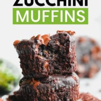 pinterest image of 2 chocolate chip zucchini muffins piled on top of each other