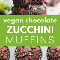 pinterest image of chocolate chip zucchini muffins piled on top of each other