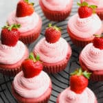 square image of many strawberry cupcakes