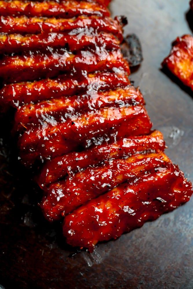 vegetarian ribs on a pan