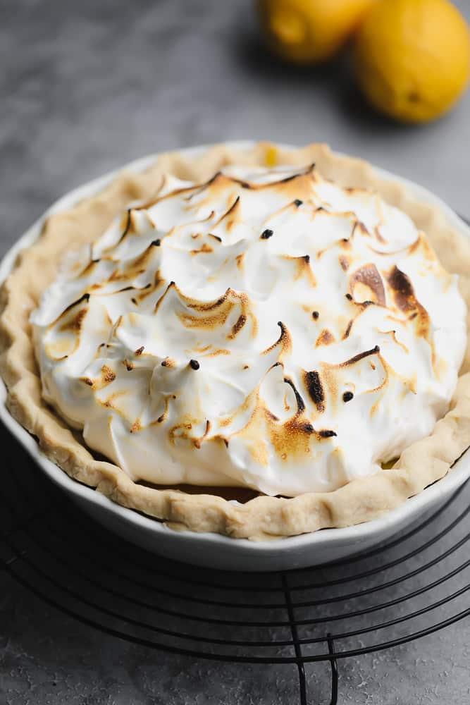 toasted peaks of meringue in a pie crust