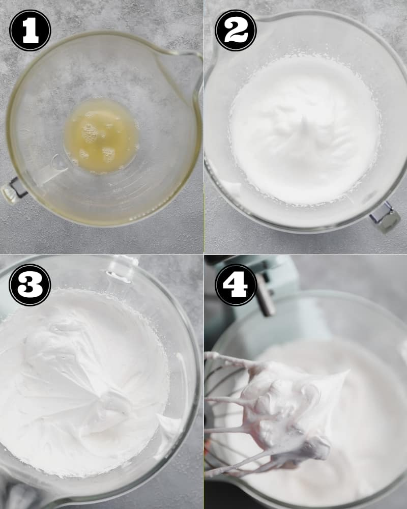 4 images showing the process of whipping meringue