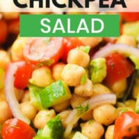 pinterest image of a chickpea salad with tomatoes and cucumbers