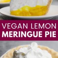 pinterest image of a slice of lemon meringue pie on a white plate