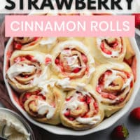 pinterest image with text for strawberry rolls