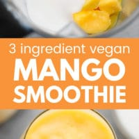 pinterest image of mango chunks in a blender and a yellow smoothie in a glass