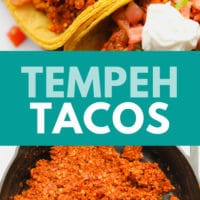 pinterest image of 3 corn tortilla tacos and orange tempeh sauteeing in a pan