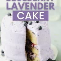 pinterest image with text overlay reading vegan lemon blueberry lavender cake