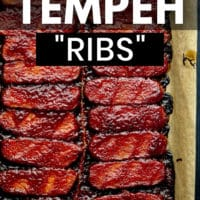 pin image for tempeh ribs, sticky and bbq