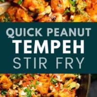 pinterest image of tempeh stir fry in a black skillet