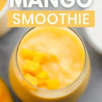 pinterest image of a yellow mango smoothie in a glass