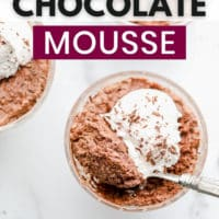 pinterest image of chocolate mousse in a glass cup