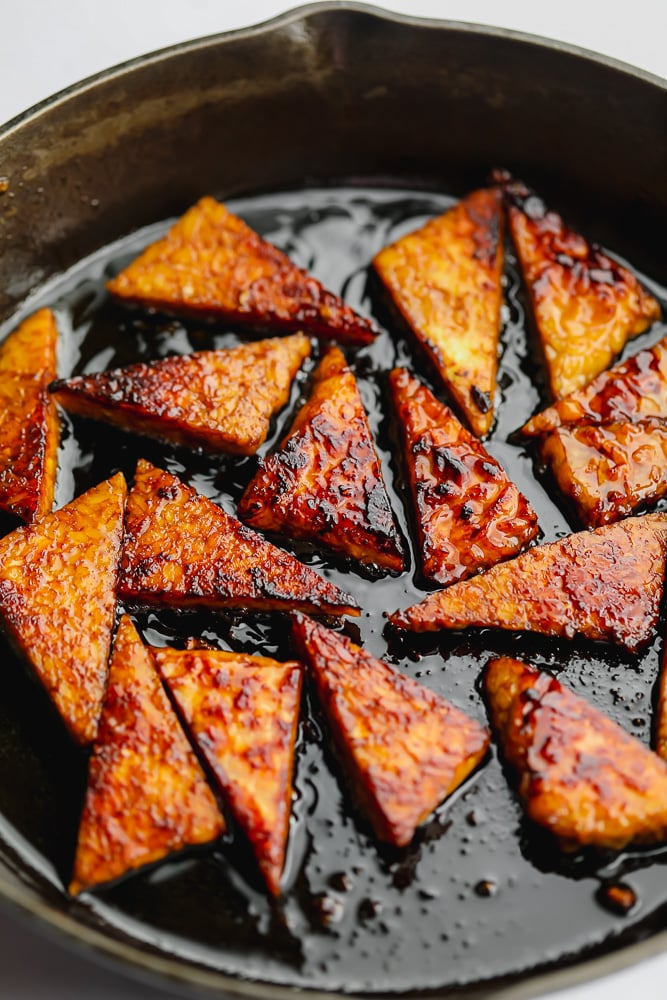 lots of triangle pieces in a cast iron pan