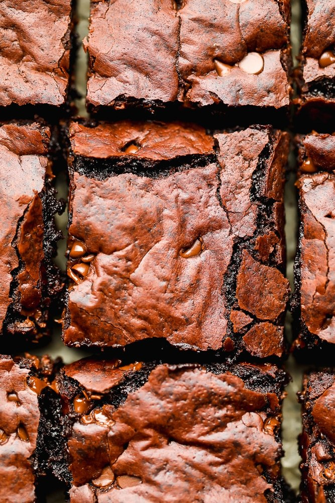 looking down close at brownies with crackle top