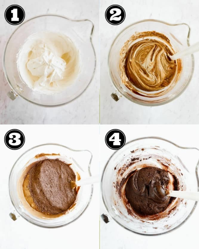 collage of how to make eggless brownie batter with aquafaba