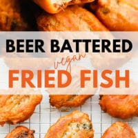 pinterest image of golden brown vegan fried fish in a pile