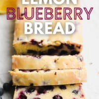 pinterest image of 3 slices of blueberry bread cut from the loaf