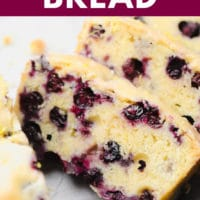 pinterest image of 2 slices of blueberry and lemon bread
