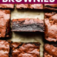 Pinterest image with text of eggless brownies