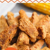 pin image with text for chicken made vegan and fried