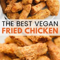 pin image of fried chicken made vegan with text