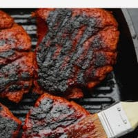 pin image of steak made vegan with text