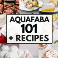 pinterest collage with text reading aquafaba 101 plus recipes