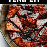 Pinterest image with text overlay for tempeh