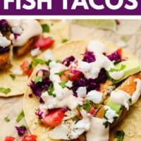 pinterest image of a corn tortilla topped with vegan fish, purple cabbage, and white sauce on parchment paper