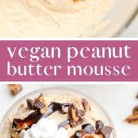 pinterest image of bowls holding beige peanut butter mousse