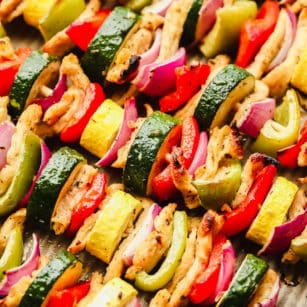 close up on cooked vegetable kebabs