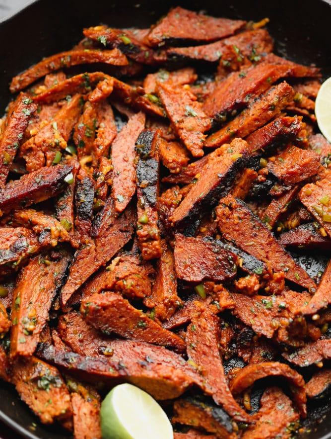 pan full of vegan seitan meat