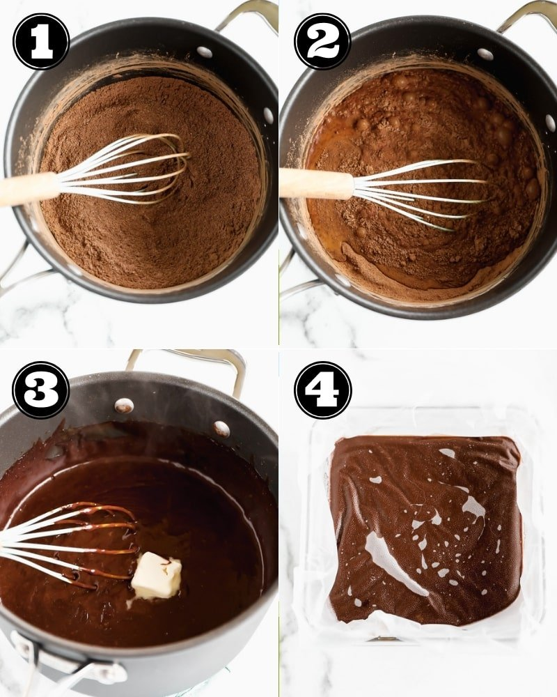4 images showing the process of making chocolate pudding in a black pot