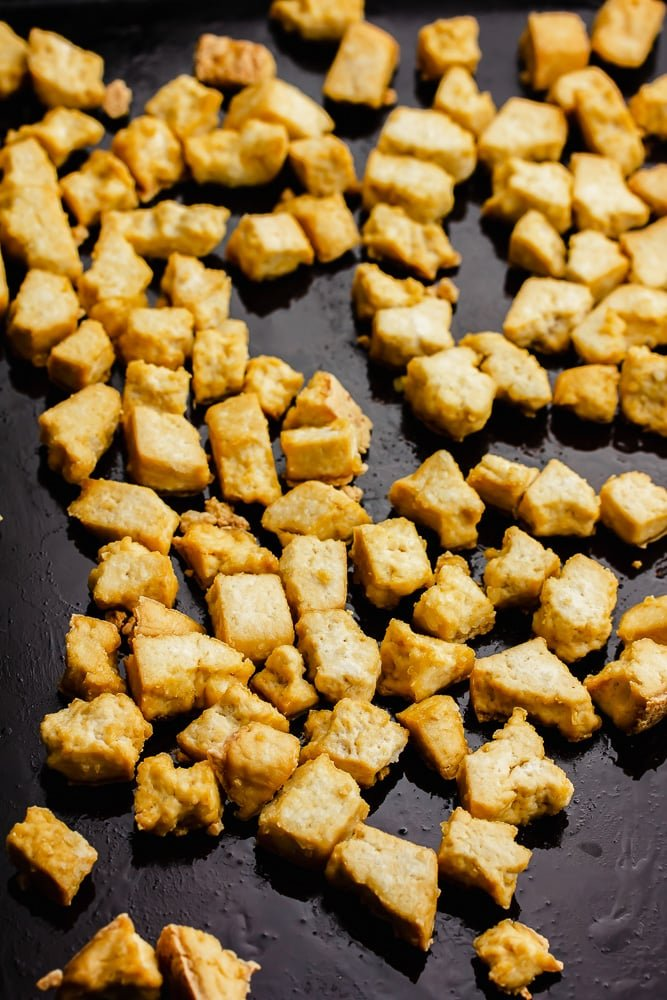 tofu cooked on a pan