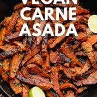 pinterest image with text overlay for vegan carne asada